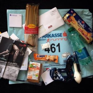 prall gefülltes Startersackerl Badener Stadtlauf